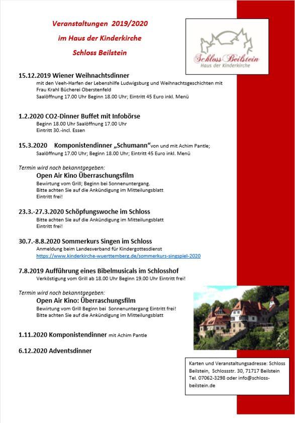 Schloss Beilstein Veranstaltungen