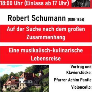Plakat rot-weiß für Schumann-Dinner