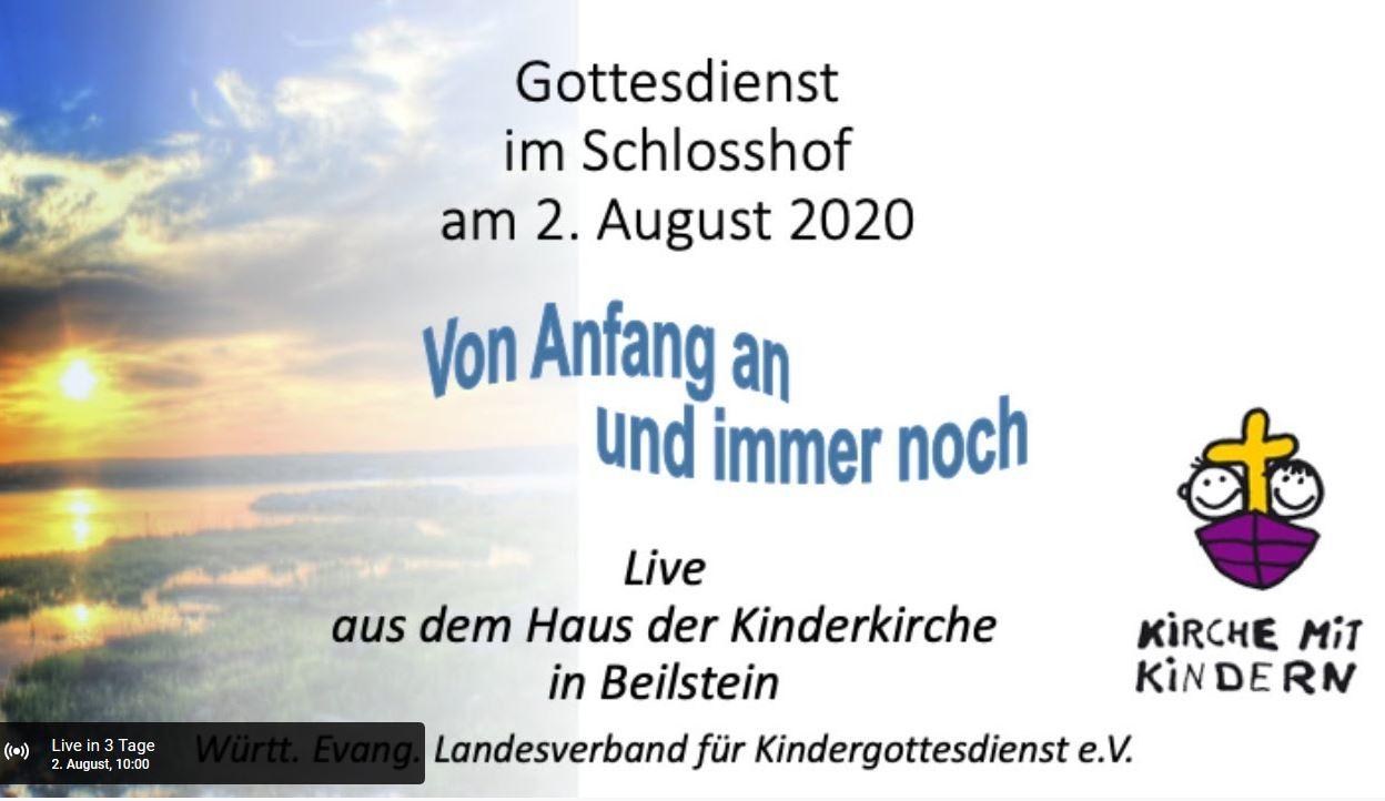 Bild mit Text für Gottesdienst am 2. August